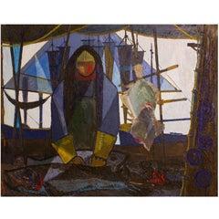 "Big Danish Midcentury Oil on Canvas: ""The Fisherman"""