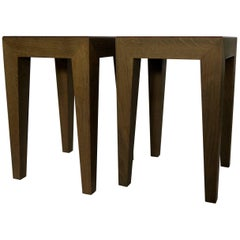 Mid-Modern Century Danish Anthracite Solid Oak Pair of Side Tables