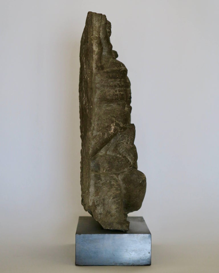Indian Goddess black stone sculpture, Rajasthan between 11th and 12th century. Probably Parvati and Skanda. Legal importation documents from India dating from 1986.