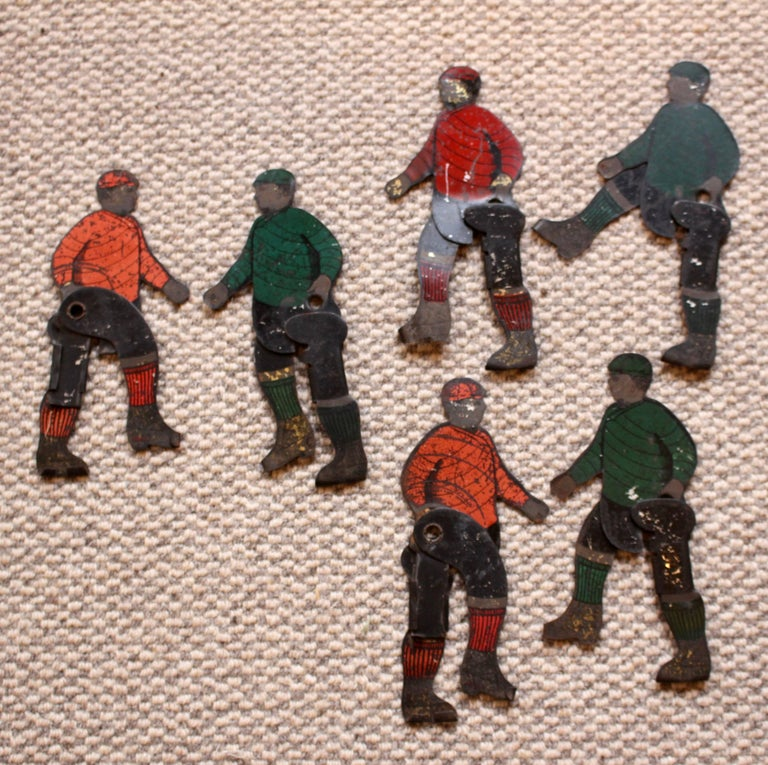 Six Tinplate Football or Ice Hockey Figures Circa 1910 In Good Condition For Sale In Heathfield, East Sussex