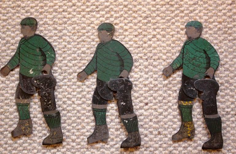 English Six Tinplate Football or Ice Hockey Figures Circa 1910 For Sale