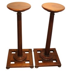Pair of Edwardian Mahogany Torchere Display Stands