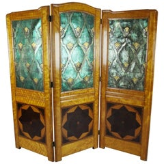Art Nouveau Satinwood and Embossed Leather Three-Fold Dressing Screen