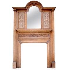 Antique Carved Oak Fire Surround with Bevelled Mirror, circa 1900