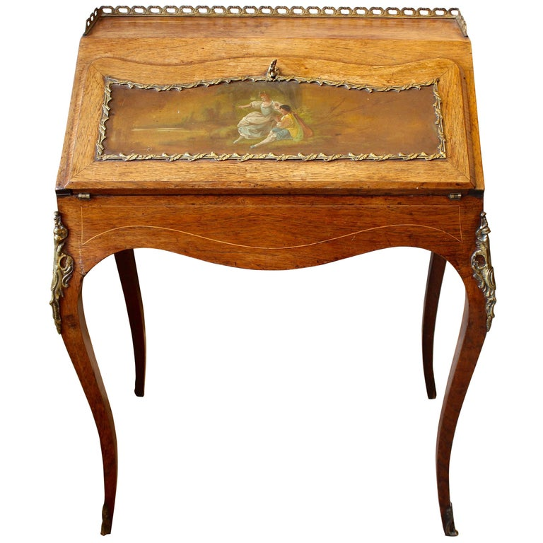 19th Century French Rosewood Ladies Writing Bureau or Bureau De Dame For Sale