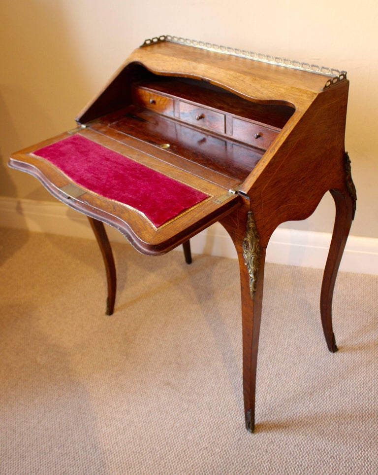 Ormolu 19th Century French Rosewood Ladies Writing Bureau or Bureau De Dame For Sale