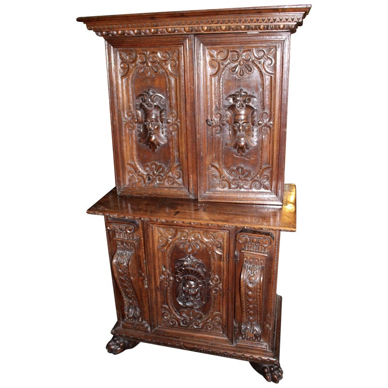 Italian Baroque Carved Walnut Cupboard, 17th Century For Sale