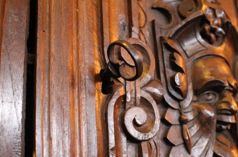 18th Century and Earlier Italian Baroque Carved Walnut Cupboard, 17th Century For Sale