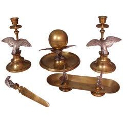 19th Century Five-Piece Silver Gilt Brass Desk Set