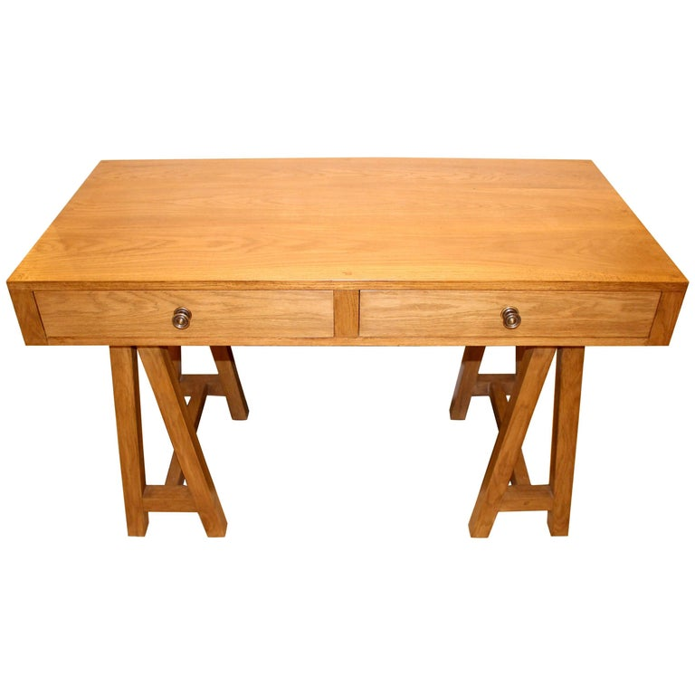 Handmade Oak Desk, Customizable Wood and Size, Made in England For Sale