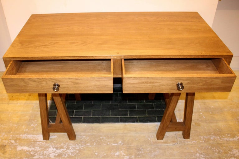 Mid-Century Modern Handmade Oak Desk, Customizable Wood and Size, Made in England For Sale