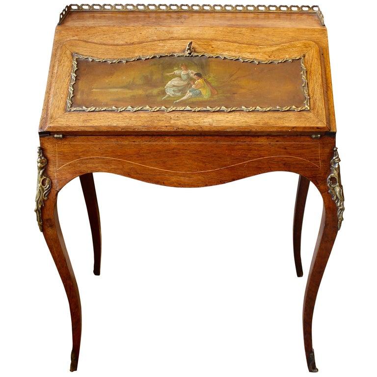 19th Century French Rosewood Ladies Writing Bureau or Bureau De Dame For Sale