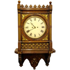 Victorian Gothic Gilt Oak Eight-Day Wall Clock