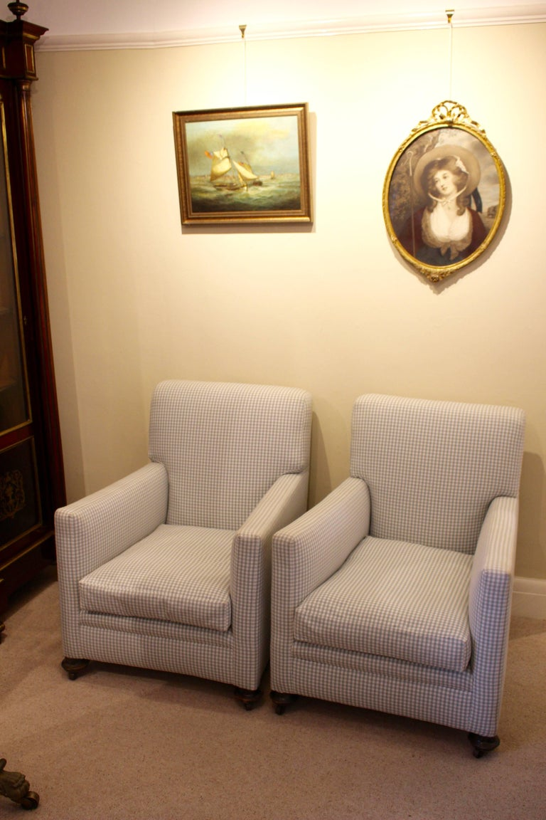Pair Of Edwardian Club Armchairs In A Grey Green Gingham Fabric For Sale 4