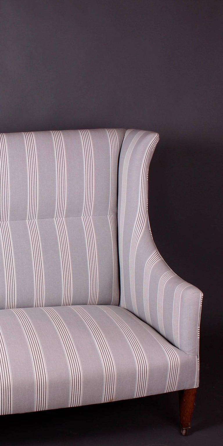 Stunning Edwardian Antique Sofa Newly Re Upholstered In A Beautiful French Grey Stripe