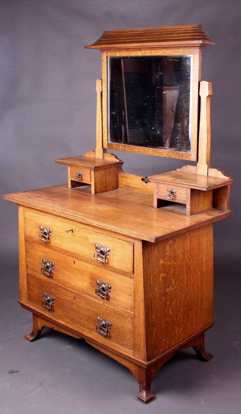 Arts and Crafts Oak Bedroom Set Wardrobe and Dressing Table By Maple ...