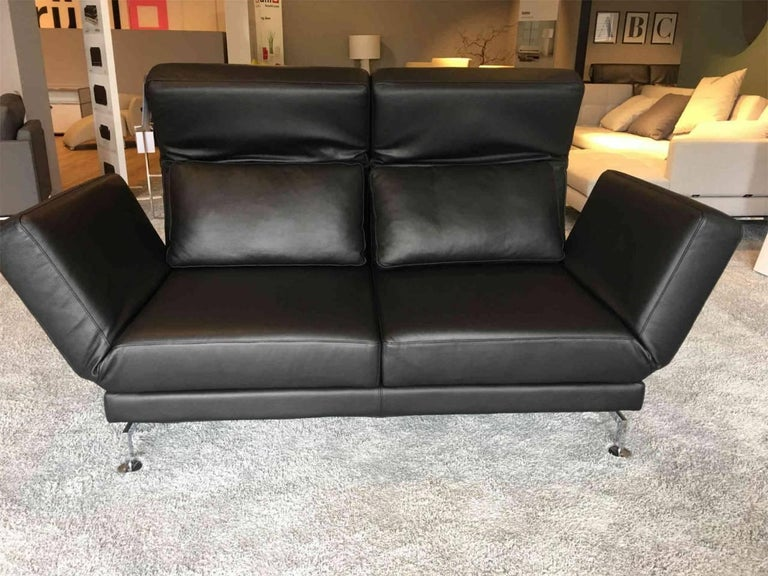 sofa moule by manufacturer br hl in chromed metal and 100 genuine leather for sale at 1stdibs. Black Bedroom Furniture Sets. Home Design Ideas