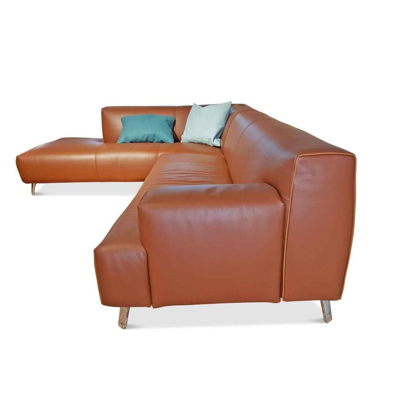 "Sofa ""Oscar"" by Manufacturer Leolux in 100% Genuine Leather and Aluminum 2"