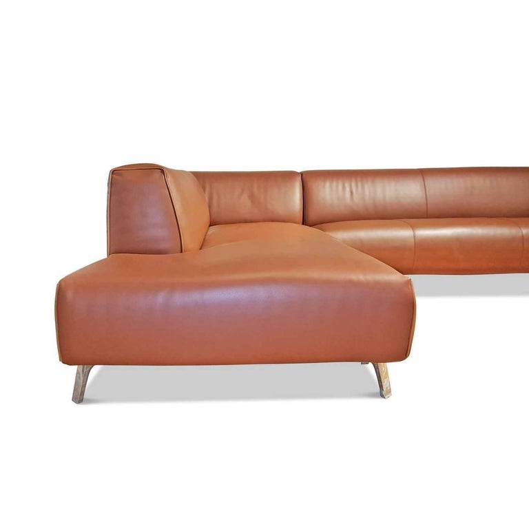 "Sofa ""Oscar"" by Manufacturer Leolux in 100% Genuine Leather and Aluminum 3"