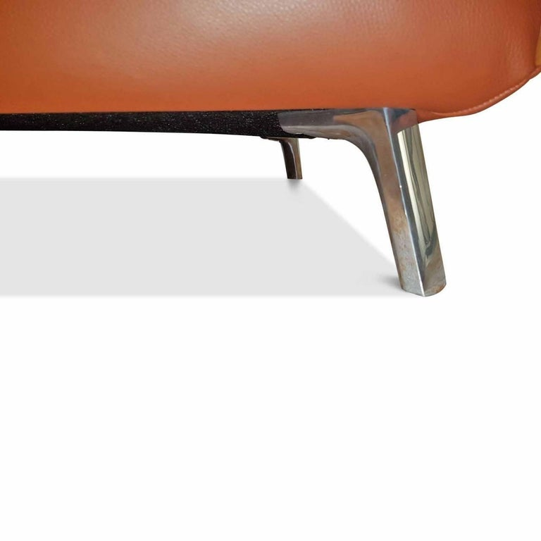 "Sofa ""Oscar"" by Manufacturer Leolux in 100% Genuine Leather and Aluminum 4"