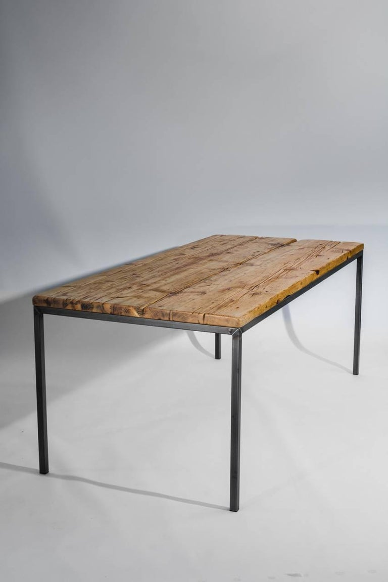 Dining room table no 01 by manufacturer wuud in spruce wood and steel 250 cm for sale at 1stdibs - Steel dining room table ...
