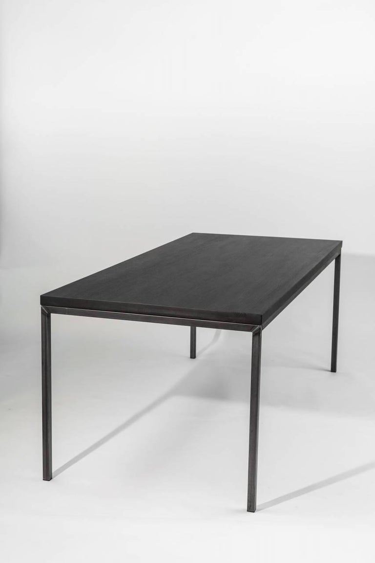dining room table no 02 by manufacturer wuud in oak wood and steel 220 cm for sale at 1stdibs. Black Bedroom Furniture Sets. Home Design Ideas