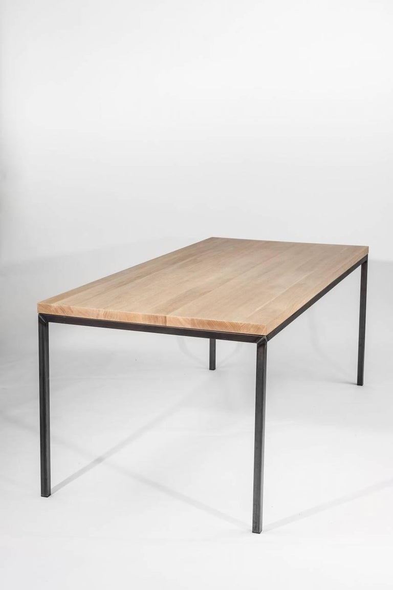 Dining room table no 02 by manufacturer wuud in oak wood and steel 220 cm for sale at 1stdibs - Steel dining room table ...