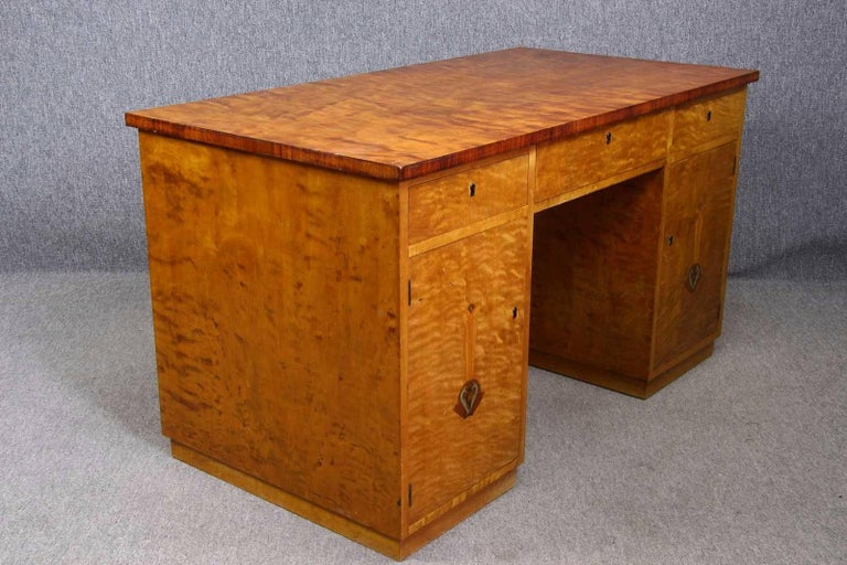 Veneer Art Deco Swedish Pedestal Partners Desk Marquetry Inlaid flame golden birch For Sale