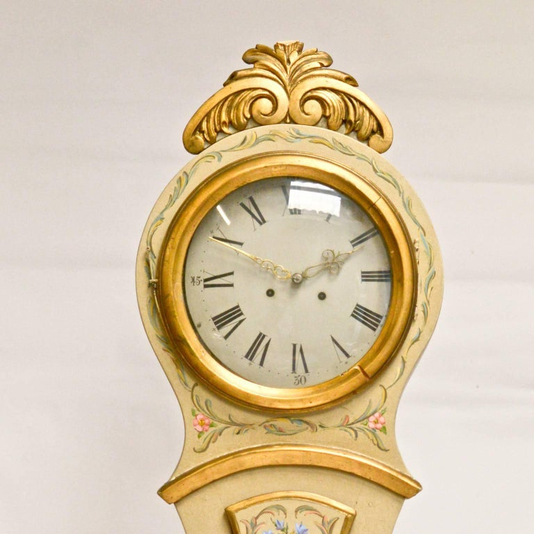 Early 1800s Antique Swedish Mora Clock Gilt Carved Detail ...
