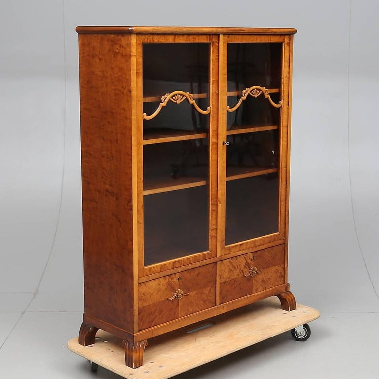 early 20th century antique swedish art deco cabinet armoire marquetry inlaid for sale at 1stdibs. Black Bedroom Furniture Sets. Home Design Ideas