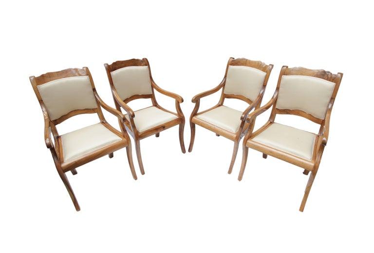 German 19th Century Biedermeier Set of Four Walnut Armchairs For Sale