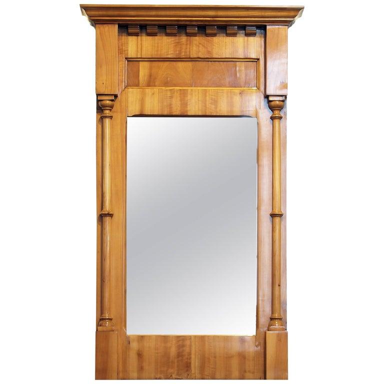 19th Century, Biedermeier Cherry Pillar Mirror For Sale