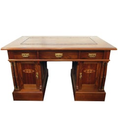Late 19th Century Art Nouveau Walnut-Veneer Desk