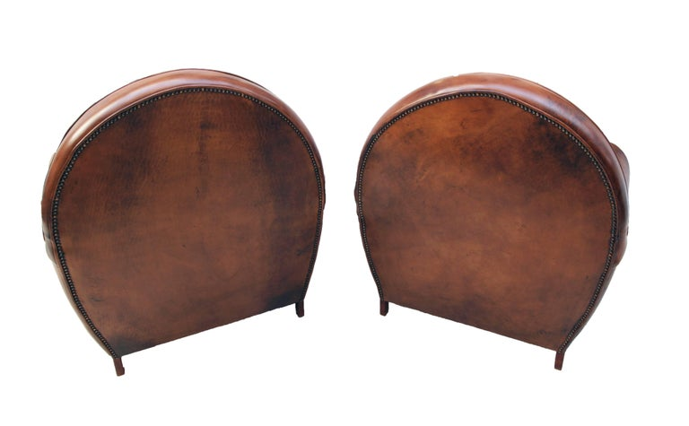 Patinated Art Deco Vintage Brown-Cognac Leather Club Set, Set of Three For Sale
