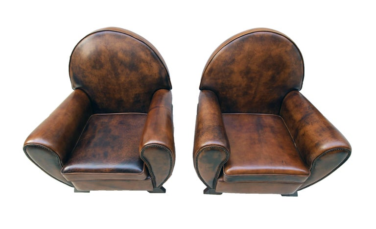 Art Deco Vintage Brown-Cognac Leather Club Set, Set of Three In Good Condition For Sale In Darmstadt, DE