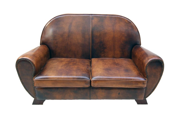 Mid-20th Century Art Deco Vintage Brown-Cognac Leather Club Set, Set of Three For Sale