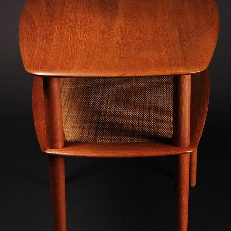 Cane Mid Century Modern Teak End or Side Table by Peter Hvidt  For Sale