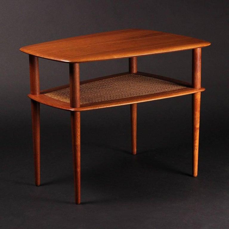 Cane Scandinavian Modern  Teak End or Side Table by Peter Hvidt  For Sale
