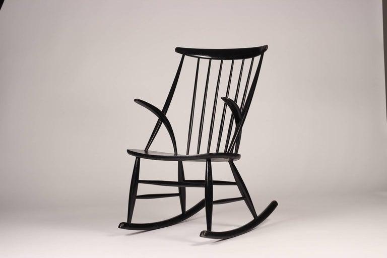 Scandinavian Modern rocking chair in ebonized wood model IW3 designed 1958 by Illum Wikkelsø.