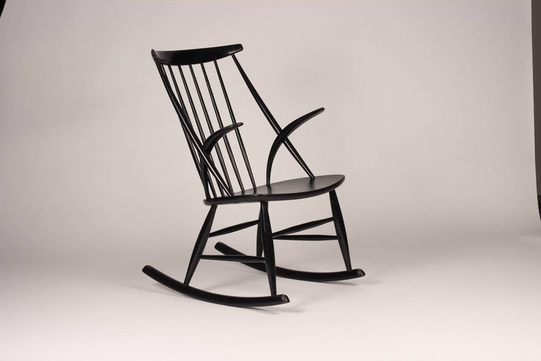 Mid-20th Century Scandinavian Modern Rocking Chair by Illum Wikkelsø, 1960s For Sale