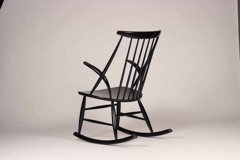 Lacquer Scandinavian Modern Rocking Chair by Illum Wikkelsø, 1960s For Sale