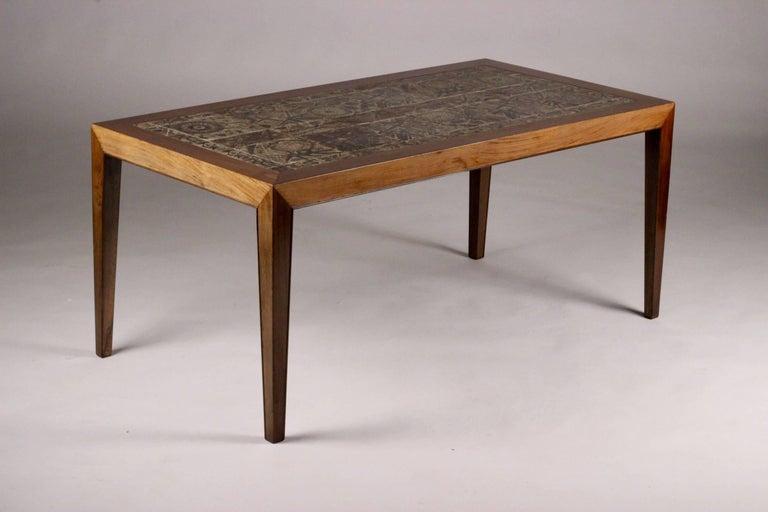 Danish Scandinavian Modern Severin Hansen and Royal Copenhagen Tiled Coffee Table For Sale