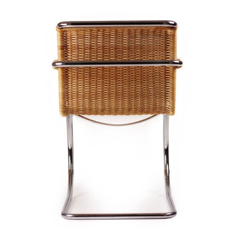 Bauhaus Ludwig Mies Van Der Rohe Mr20 Lounge Chairs In Wicker And