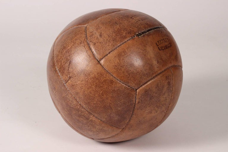 Midcentury Leather Vintage Medicine Ball by Lemnert Eichwald In Good Condition For Sale In London, GB