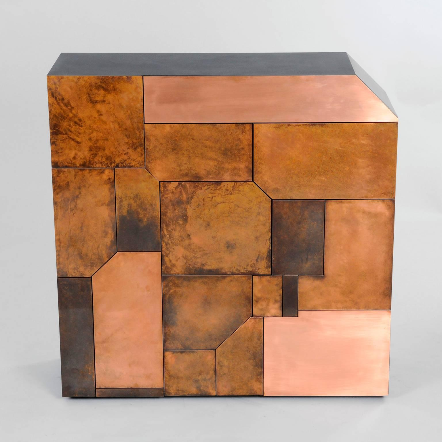 Modern Contemporary Elementi Cabinet Or Chest Of Drawers With Copper Patina  Mosaic For Sale