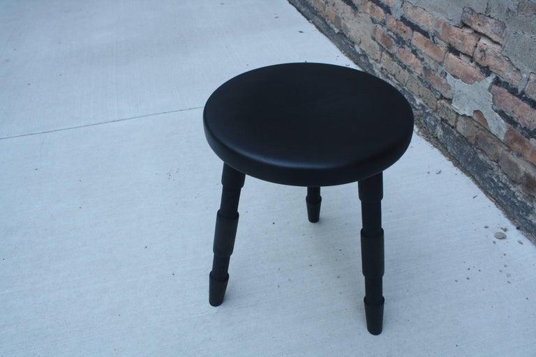 Saddle, Handmade Contemporary Ebonized Walnut Wood Stool 2