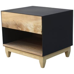 Oxide, a Customizable Matte Black Steel and Wood Nightstand or Side Table