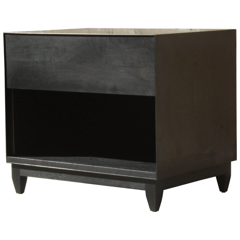 Oxide, Handmade Nightstand or Contemporary Side Table - Blackened Steel and Wood