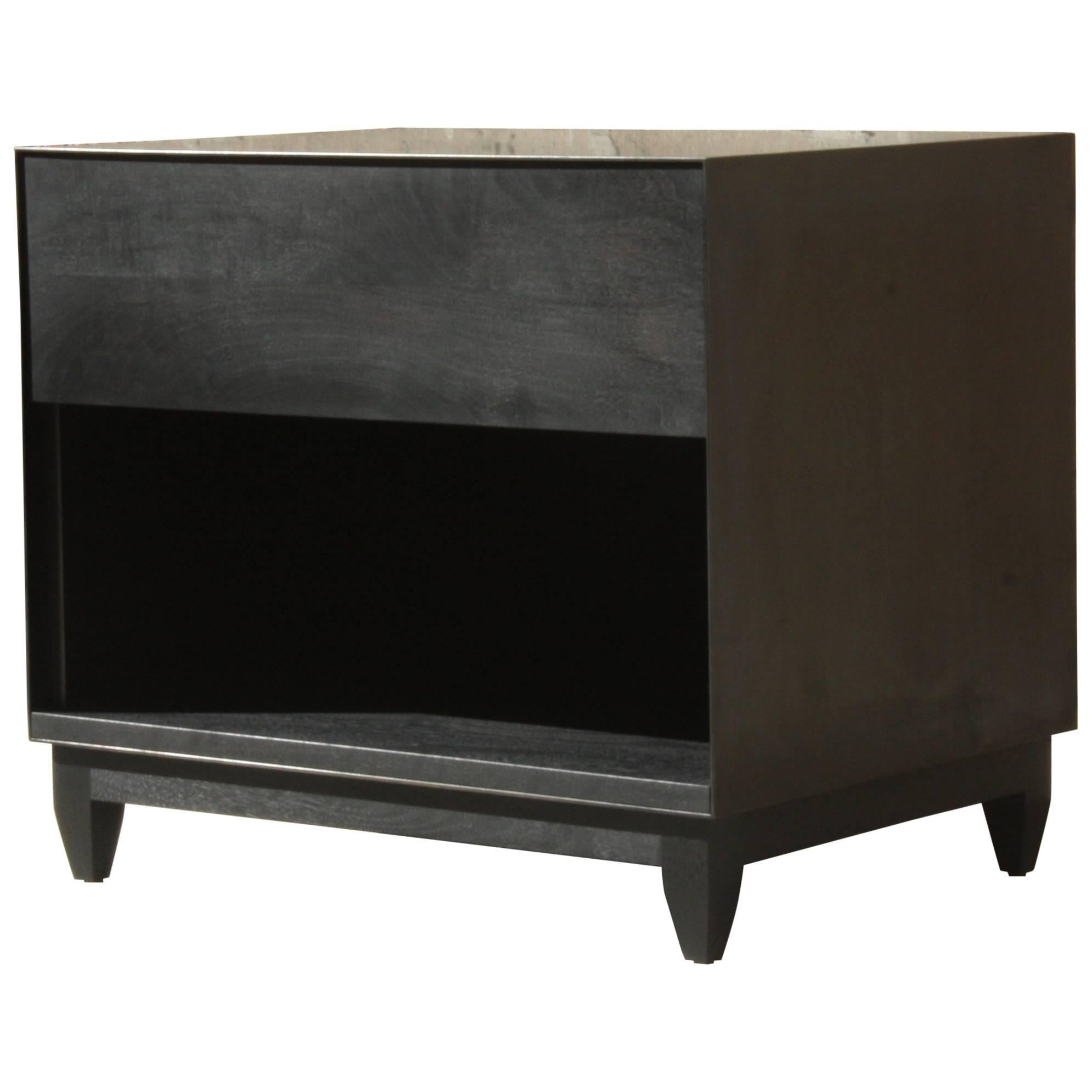 Oxide, Handmade Nightstand Or Contemporary Side Table   Blackened Steel And  Wood For Sale