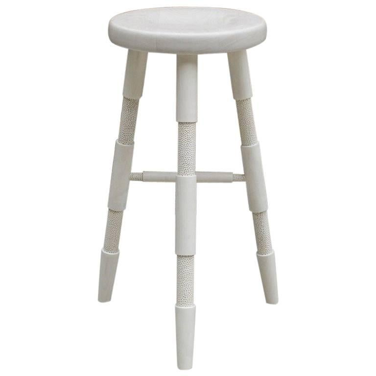 Saddle, a Modern Wood Counter Stool or Handmade Bar Stool in Bleached Maple